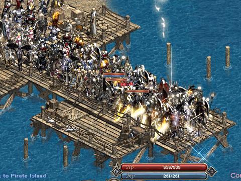 【写真: 海賊島に渡る方々でごった返す桟橋】