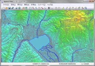 【SS: 基盤地図情報閲覧コンバートソフトで地図を表示したところ】